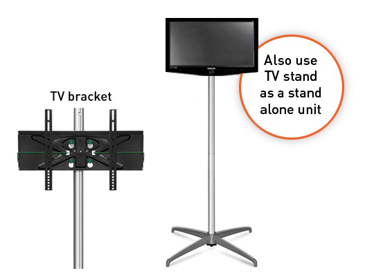 Sungard Exhibition Stand Here Alone : Curved tv monitor popup display stand