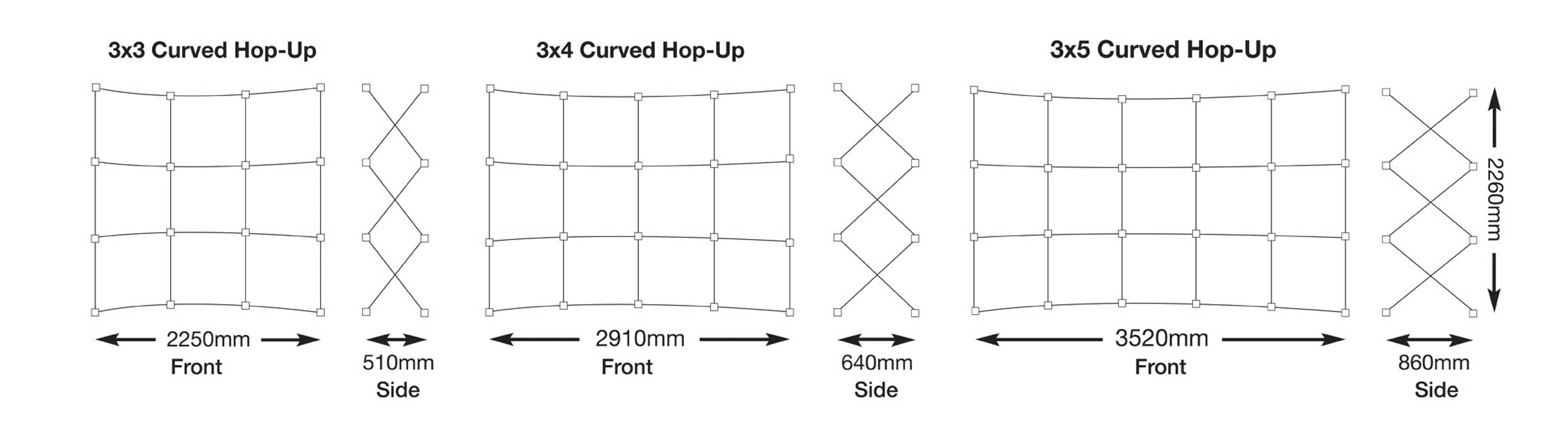Curved Fabric Hop-Up Stand Sizes